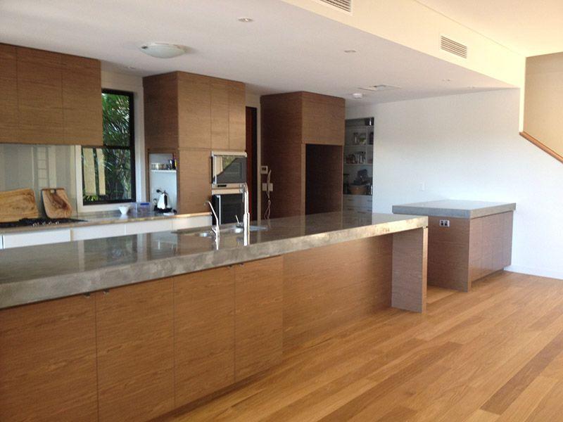 Polished Concrete Benchtops Mixed Element Sunshine Coast Kitchen
